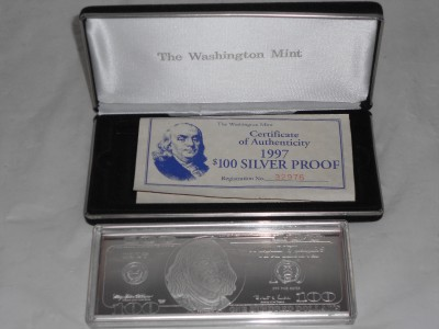 1997 Washington Mint 4 Troy Oz 999 Silver 100 Hundred