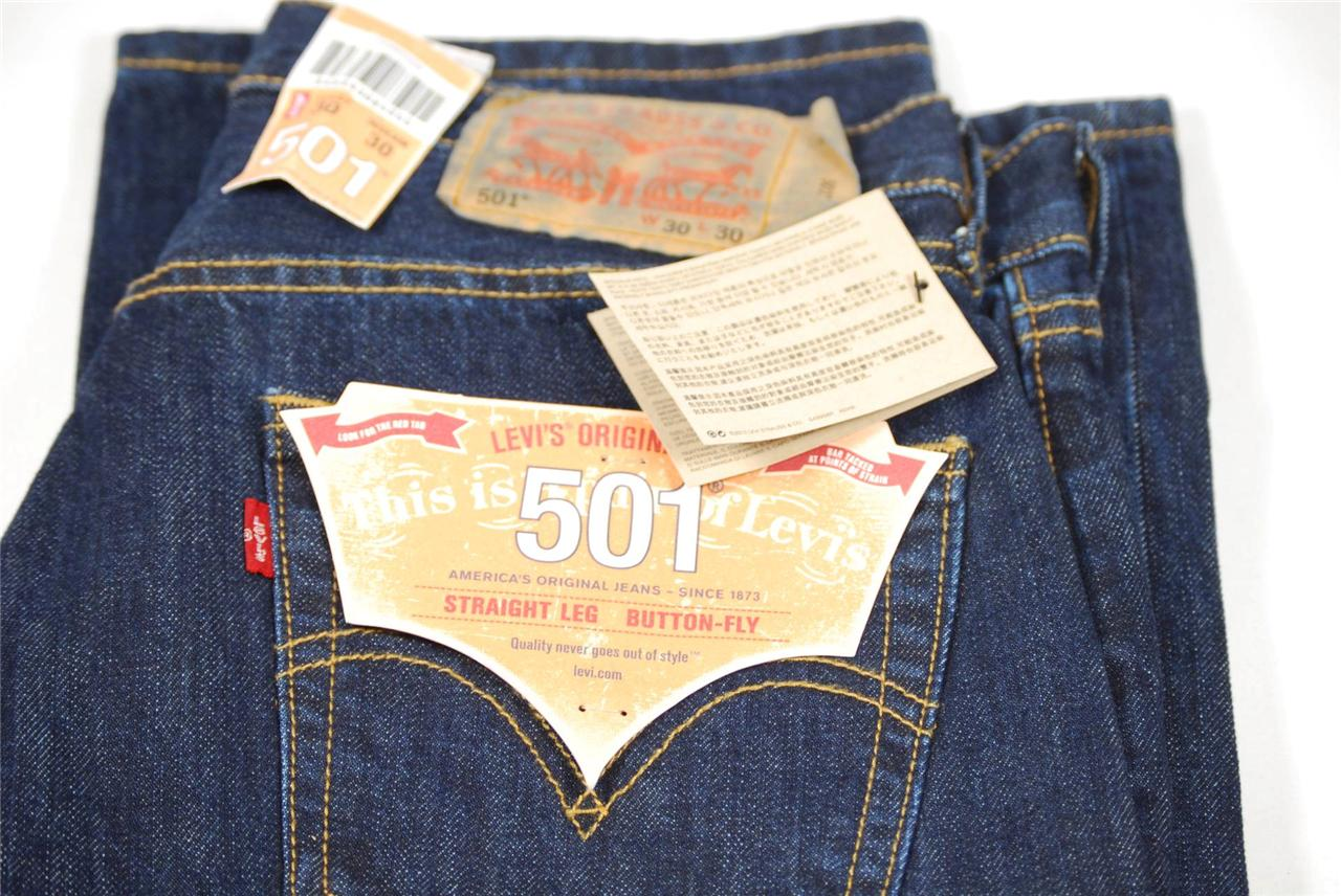 LEVI-501-Jeans-BNWT-Straight-Leg-Button-Fly-W34-L32