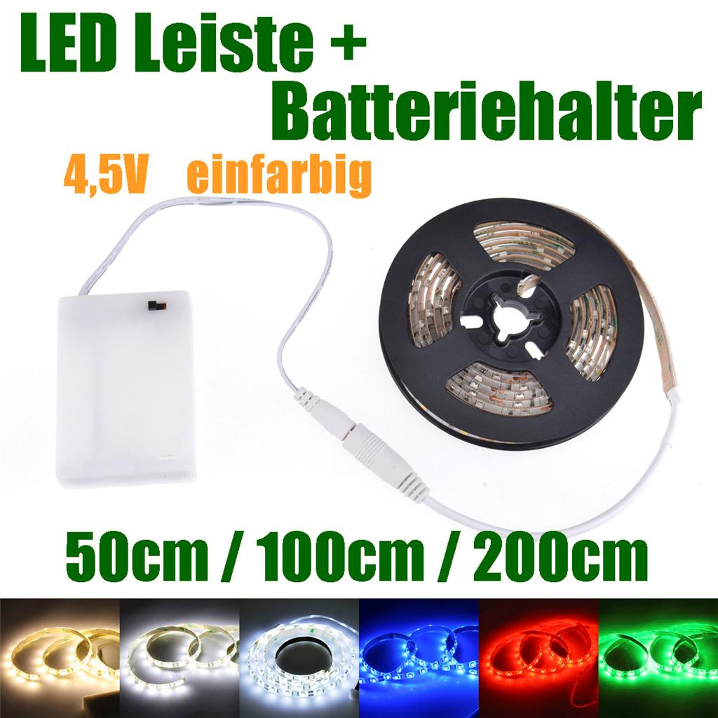 30cm led leiste mit batterie box batteriebetrieben schalter led strip e streifen ebay. Black Bedroom Furniture Sets. Home Design Ideas