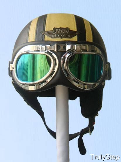top casque bol jet cuir noir jaune de moto vespa biker lunettes visi re s m l xl ebay. Black Bedroom Furniture Sets. Home Design Ideas