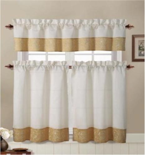 Sage Colored Curtains Kitchen: 3 Piece Embroidered Floral Kitchen Curtain Sage, Beige