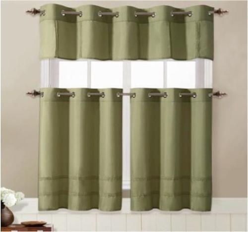 Gorgeous 3 Piece Window Kitchen Curtain Set Blue Taupe Brown Sage Ebay