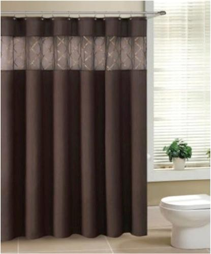 Fabric Shower Curtain With Sheer Window Sequined Insert Metal Grommet 3 Colors Ebay