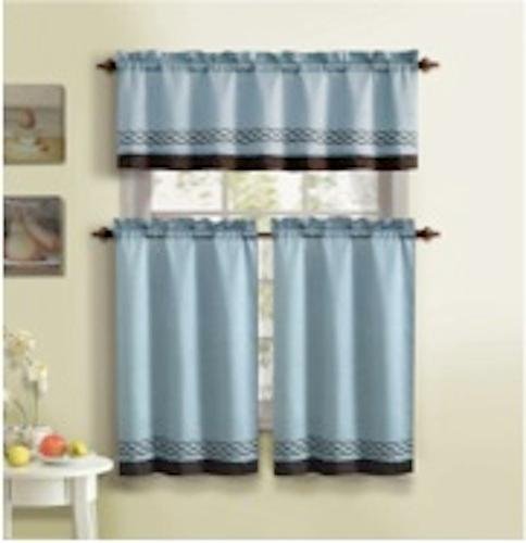 Victoria Classic Bedford Luxurious 3 Piece Embroidered Stripe Kitchen Curtain-Valance & 2 Tier Blue & Brown at Sears.com