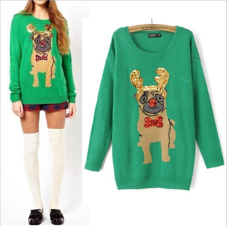 NEW Womens Santa Warm Winter Green Pug Ugly Christmas Sweater ...