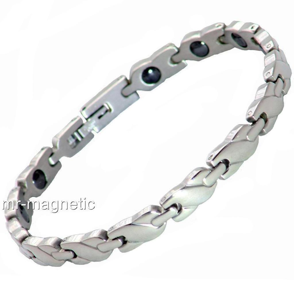 Ladies magnetic healing bracelet stainless steel silver for Do pawn shops buy stainless steel jewelry