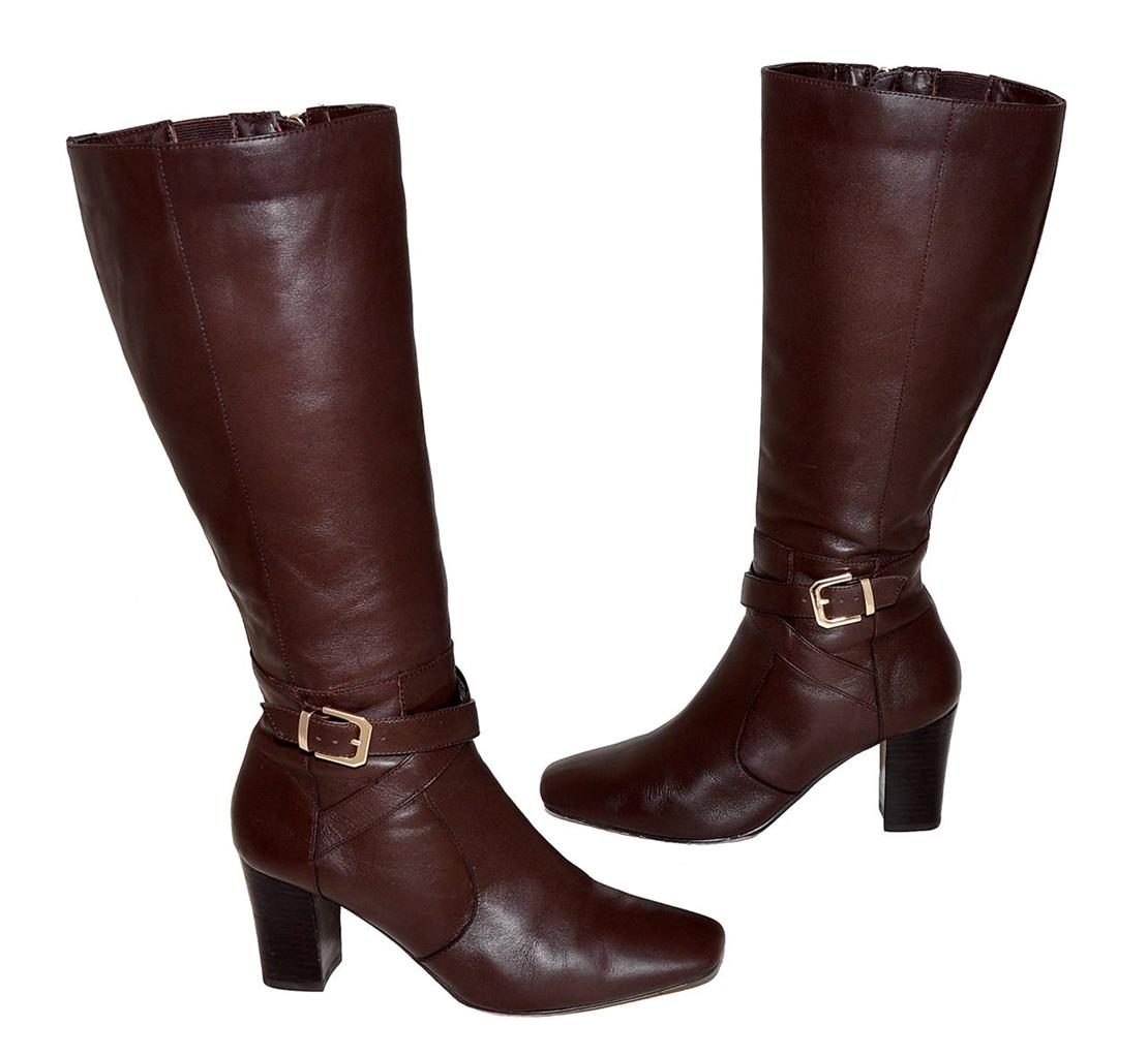 diana brown genuine leather knee length boots