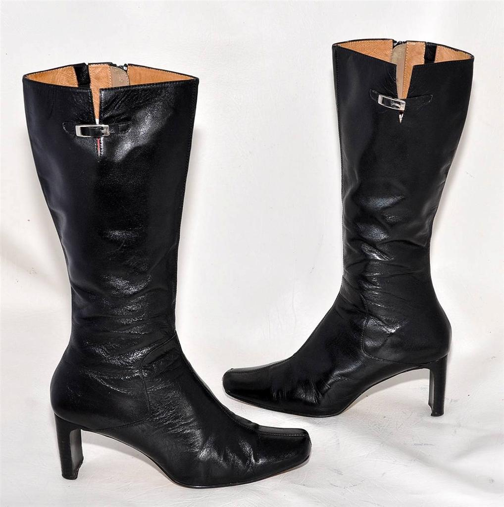 micam black genuine leather high calf length boots for