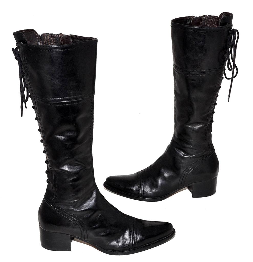 collection black genuine leather knee length boots for