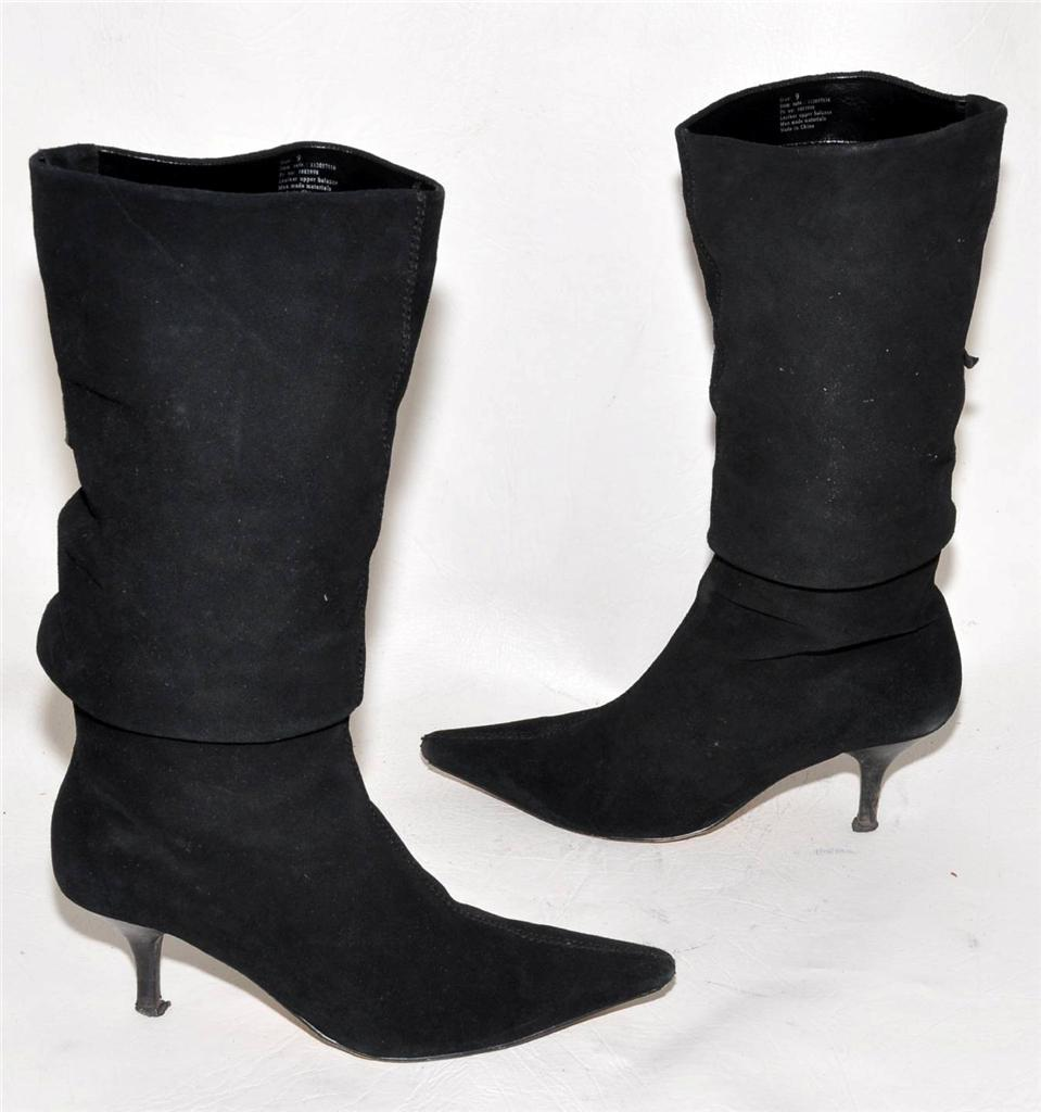 akiel black genuine suede leather high calf length boots