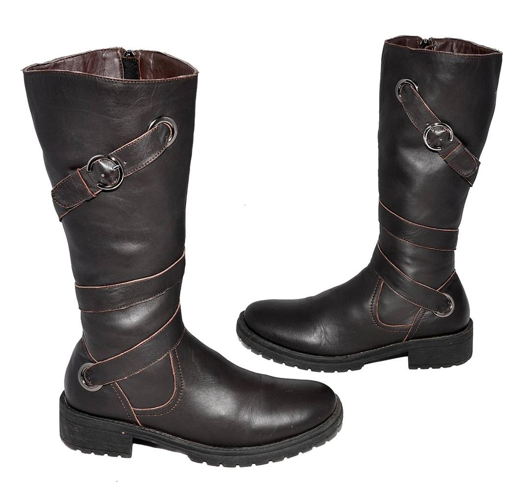 brown genuine leather high calf length boots for