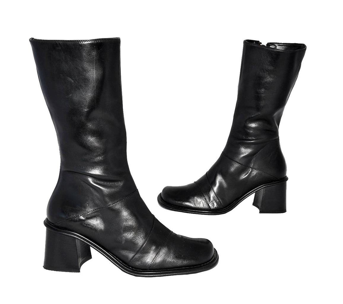 donna moda black genuine leather calf length boots for