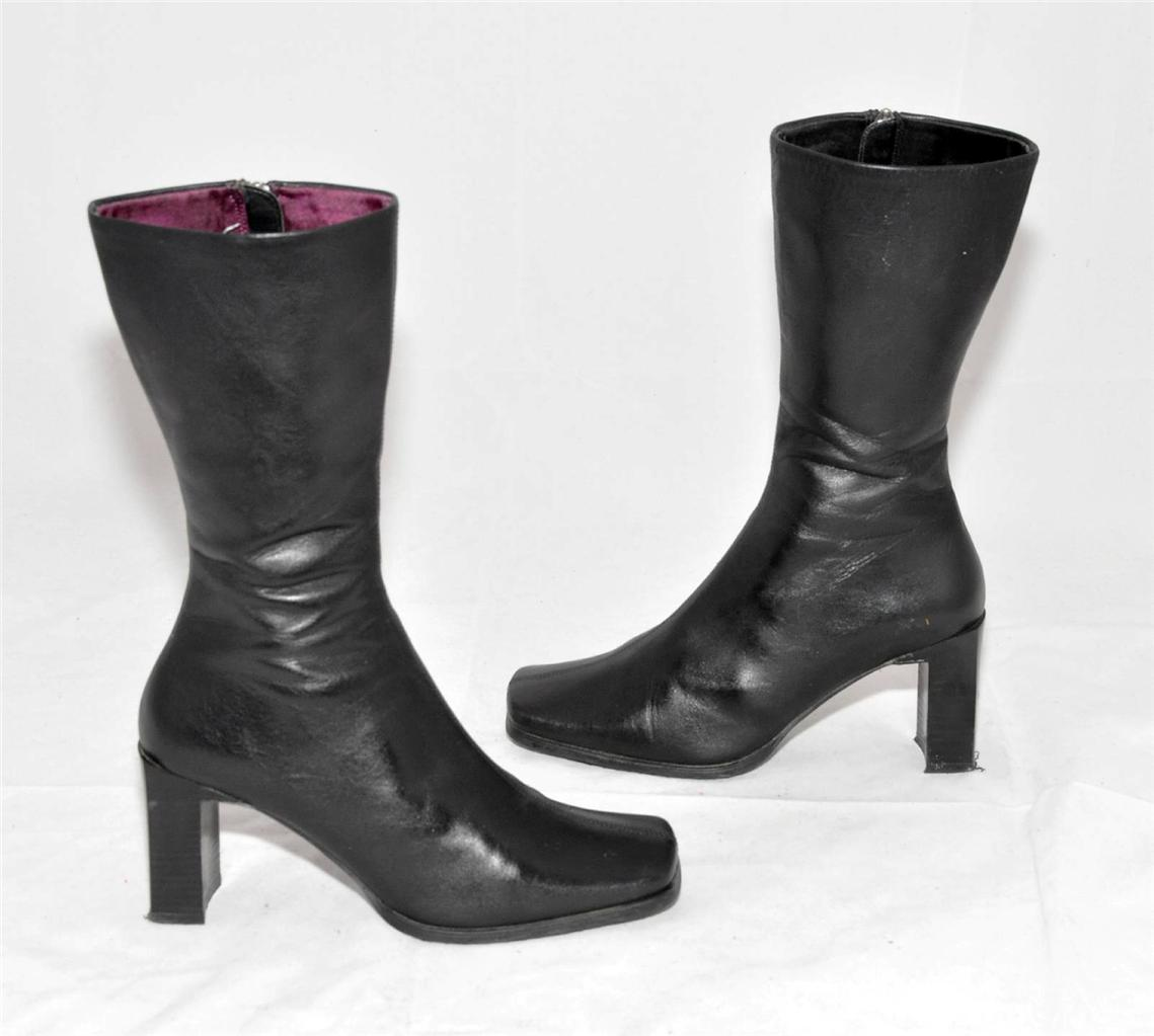 diana black genuine leather calf length boots for