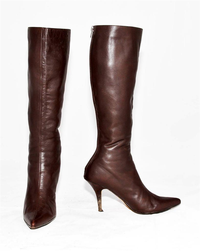 mollini brown genuine leather knee length boots for