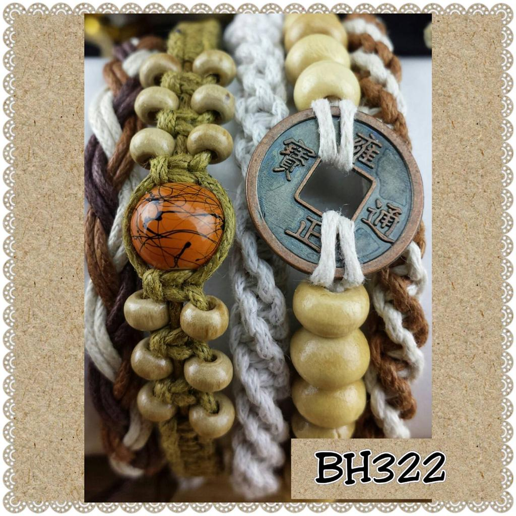 set 5 boho hippie surf bracelets wood & cotton mix adjustable