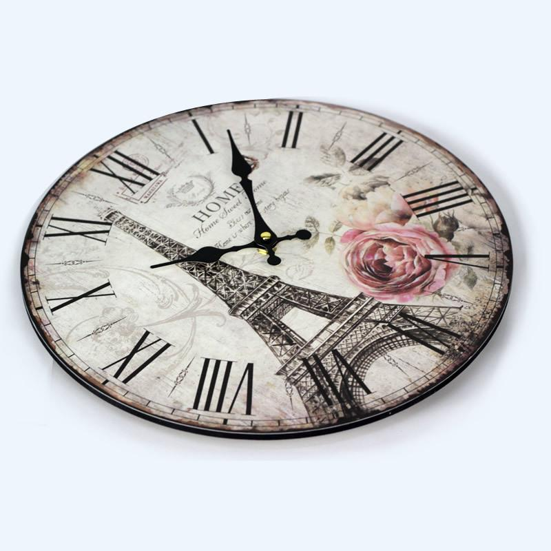Vintage paris eiffel towel flower wood retro wall clock for A href decoration none