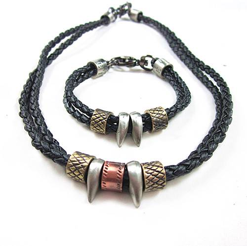 Mens Charm Choker Wolf's Fang Pendant Genuine Leather ...