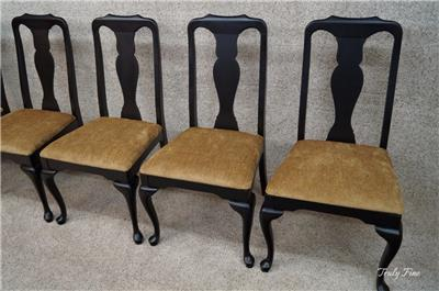 By Harden 6 Black Cherry Queen Anne French Country Side Dining Chairs EBay