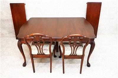 Stunning Antique Chippendale Dining Room Set Suite Mahogany Table 6 Cha