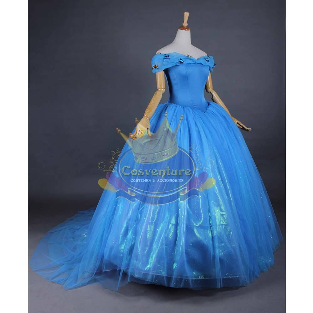 Cinderella Dress Ball Gown Costume 2015 Movie Custom Made Wig Option ...
