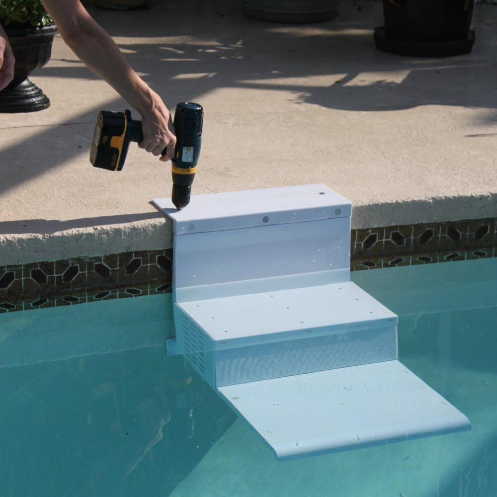 Swimming pool pup steps pool ladder for small to large dogs safety step ramp ebay - Above ground pool steps for handicap ...