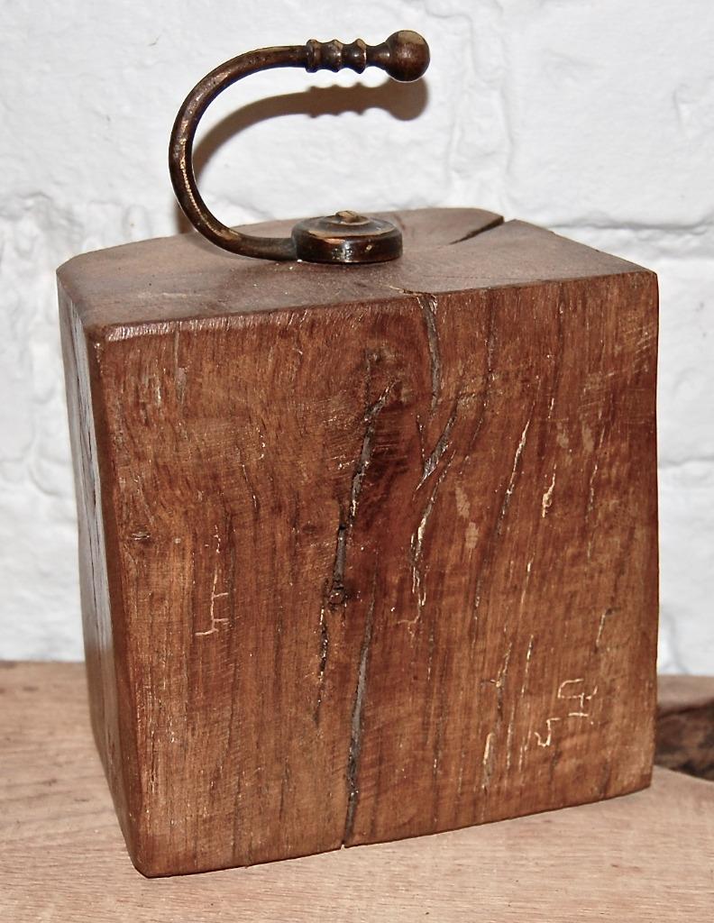 An Oak Door Stop With An Antique Metal Fixing Handle Ebay