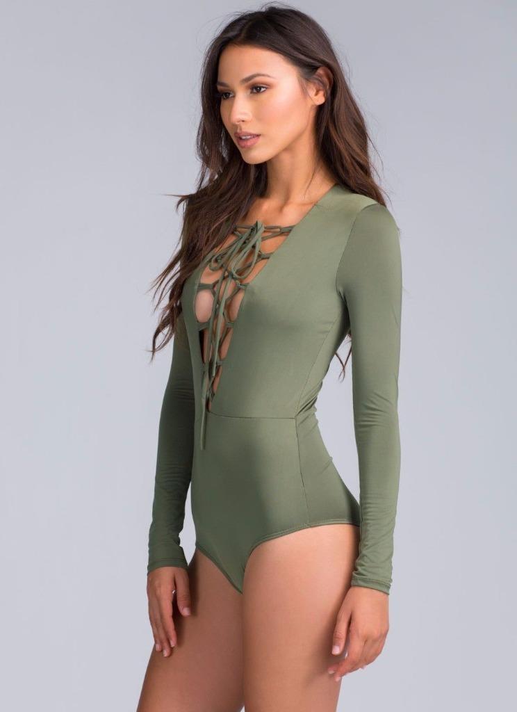 Women Tie Lace Up Bodysuit Crop Tops Leotards Plunge