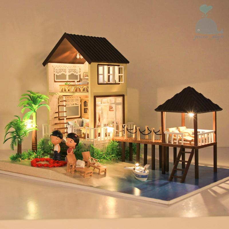 diy handgefertigte miniatur projekt holz puppenhaus my wasser villa in malediven. Black Bedroom Furniture Sets. Home Design Ideas