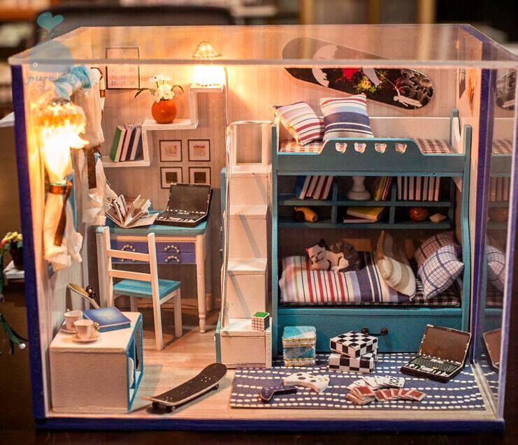 Diy handgefertigte miniatur projekt set my kleine jungen schlafzimmer holz ebay - Jungen schlafzimmer ...