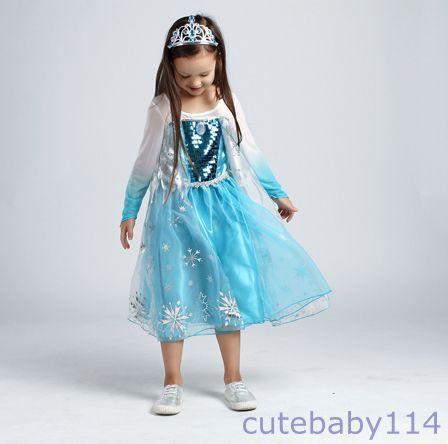 Robe d guisement costume reine des neiges disney frozen elsa anna enfant fille ebay - Robe anna reine des neiges ...