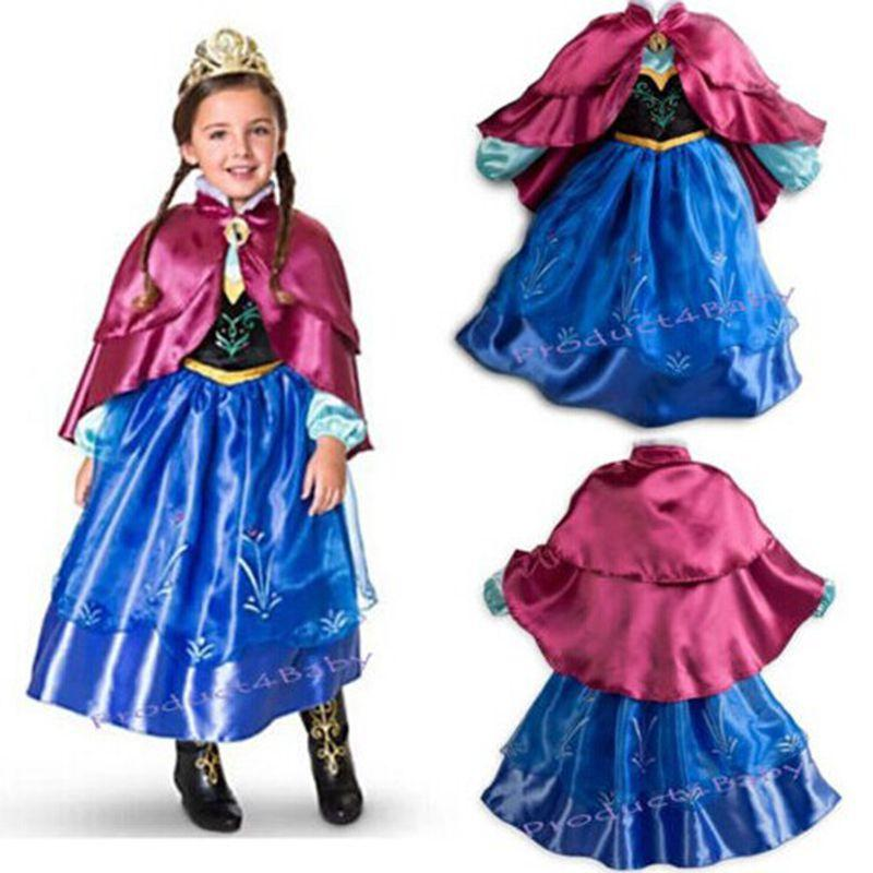 robe d guisement costume reine des neiges disney frozen elsa anna enfant fille ebay. Black Bedroom Furniture Sets. Home Design Ideas