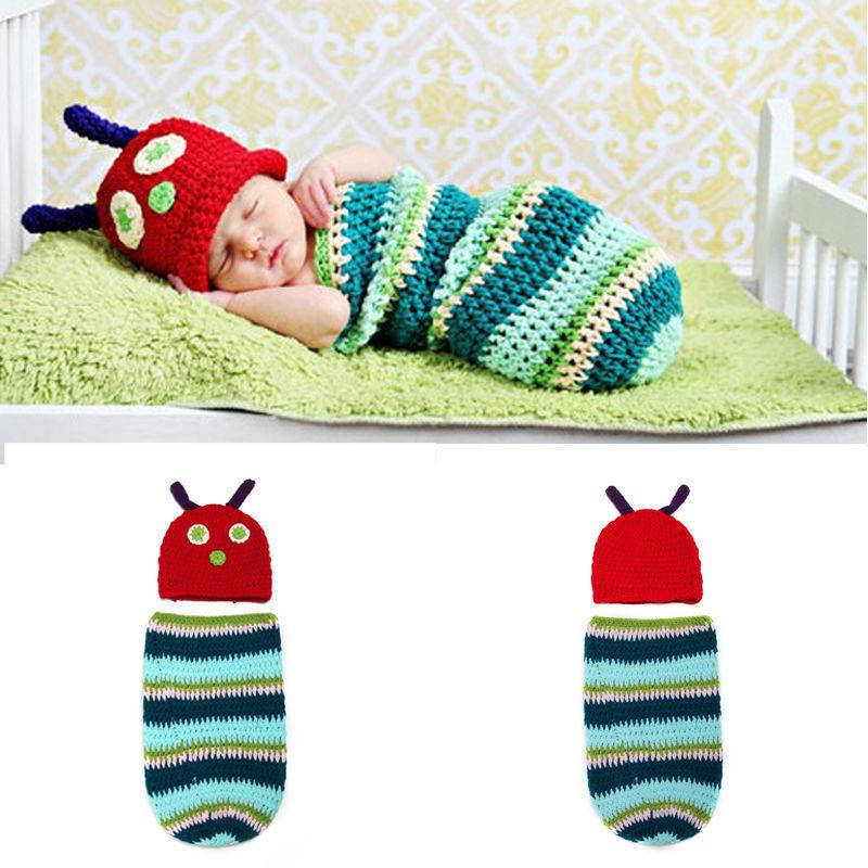 Handmade crochet hungry caterpillar baby cocoon hat swaddle sleeping bag clothes ebay