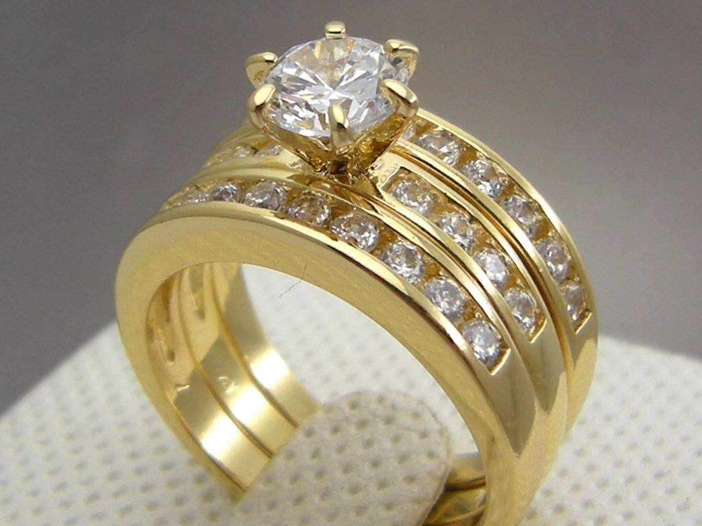 Cathedral yellow gold filled wedding engagement 3 ring set for 9ct gold wedding ring sets