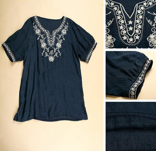 Navy women embroidered floral peasant vintage tunic boho