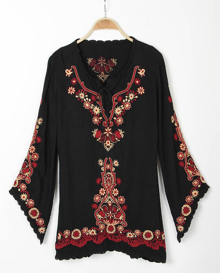 Women peasant ethnic embroidered floral boho top tunic