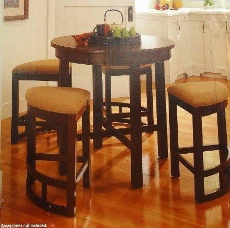 lenoir 5 piece solid wood constructed counter height dining table set