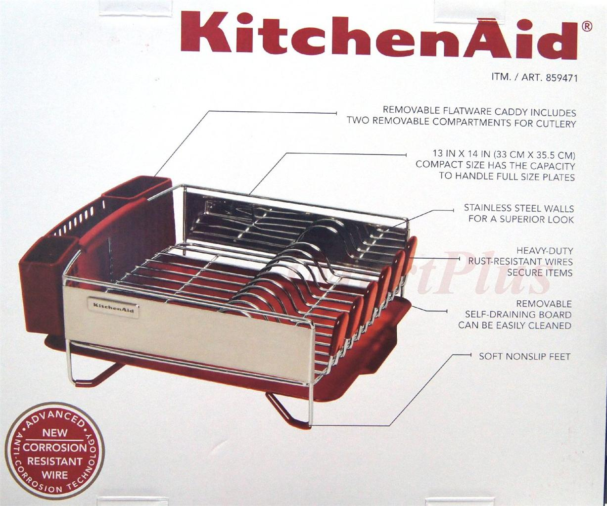 Kitchen aid kitchenaid 3 pc dish cup holder plate drying drainer rack set red ebay - Kitchenaid dish rack red ...