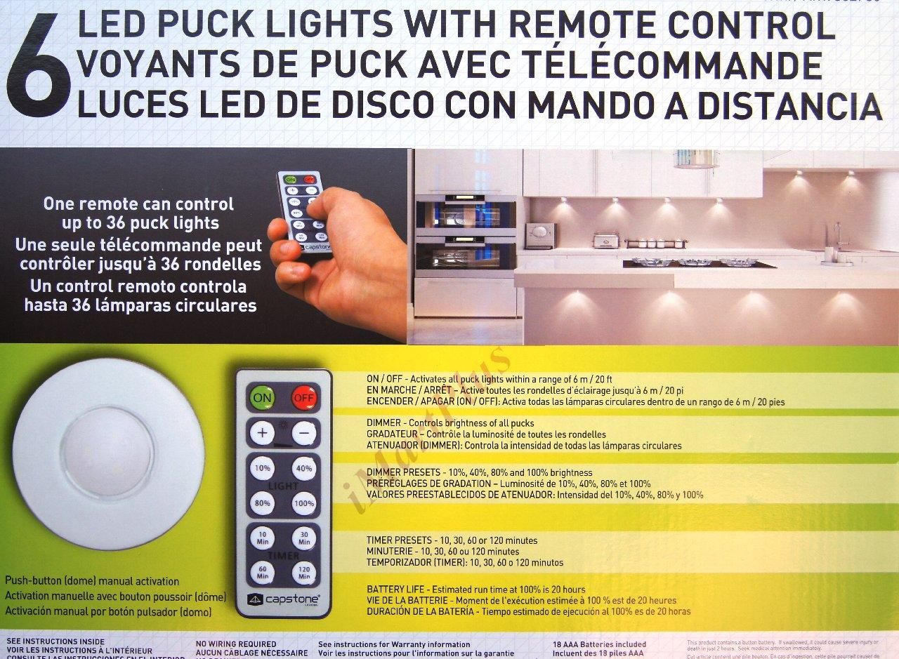 wireless under cabinet puck led lights with remote battery included. Black Bedroom Furniture Sets. Home Design Ideas