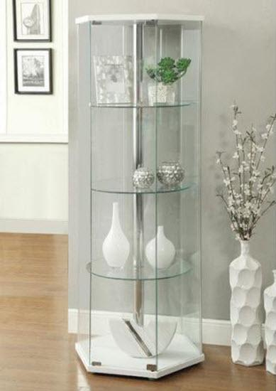 Curio glass cabinet corner tower rectangular display - Glass corner shelf for living room ...