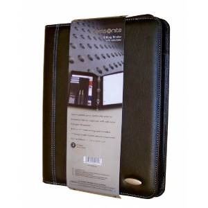Samsonite black leather zipper folio 3 ring binder w calculator trapper keeper for Trapper keeper 2 sewn binder with exterior storage