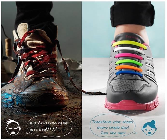 unique easy elastic silicon shoelaces casual dress shoe
