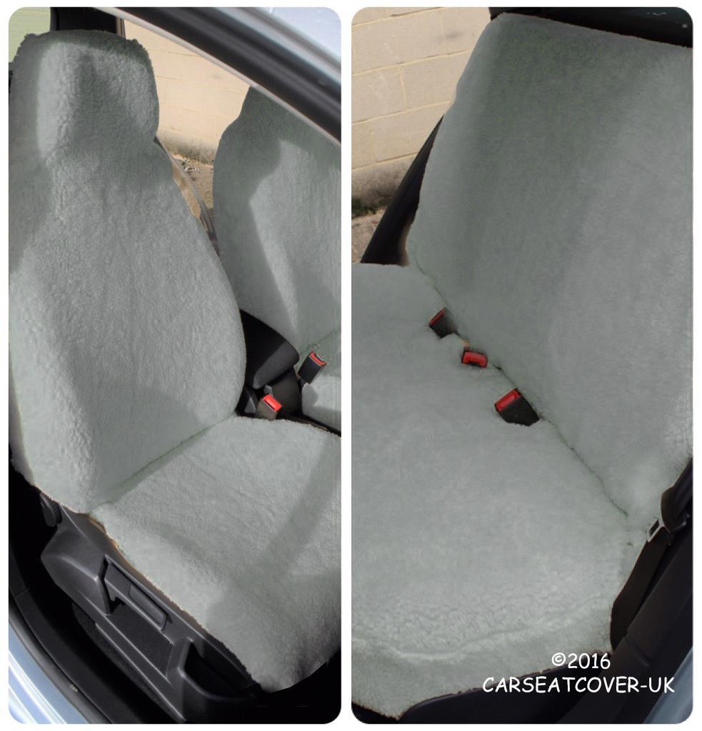 Skoda Yeti Outdoor - GREY SHEEPSKIN Faux Fur Furry Car Seat Covers