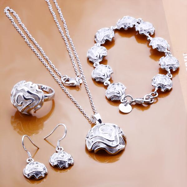 women elegant jewelry 925 sterling silver filled rose necklace bracelet ring SET