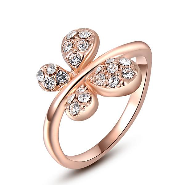 Elegant Monday's Day 18K Rose Gold Filled Austrian Crystal butterfly Ring #6-8