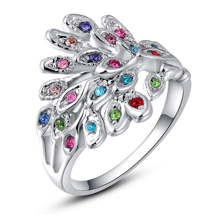 Mother's Day Gifts Beautiul 18K White Gold colorful Crystal Peacock Ring Sz 6-8