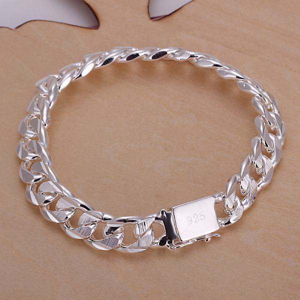 Wholesale Men's Classic Crub Link Chain 925 sterling silver filled bracelet 8''