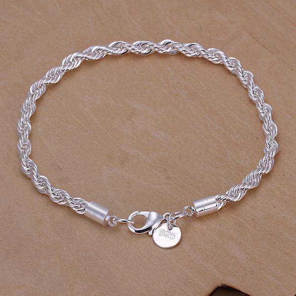 Wholesale women's fashion Classic 925 Sterling silver filled Bracelet Bangle 8''