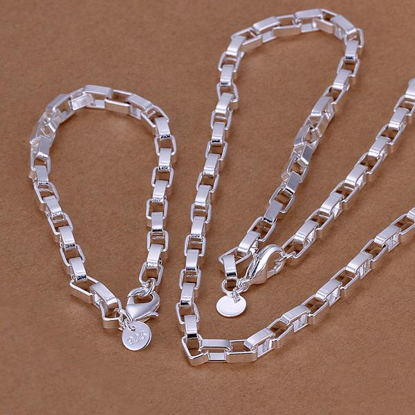 WHOLESALE 50 FASHION STYLE CLASSIC SILVER PLATED BRACELET NECKLACE JEWELRY SET