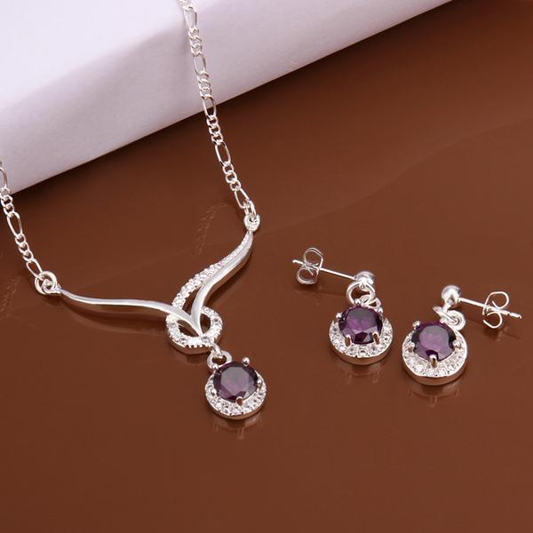 Beautiful Amethyst 925 Sterling Silver Jewelry Set Necklace Earrings Ring Size 8