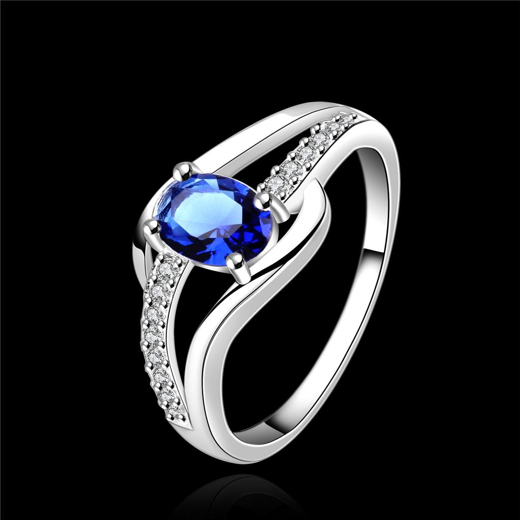 Wholesale women new elegant 925 sterling silver Sapphire Ring Size 7-8 R562